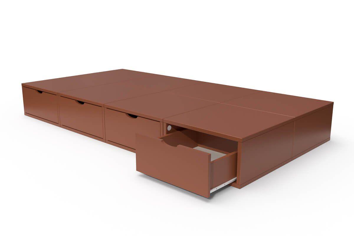 ABC MEUBLES Lit 90x200 1 place avec tiroirs Cube bois - 90x200 - Chocolat