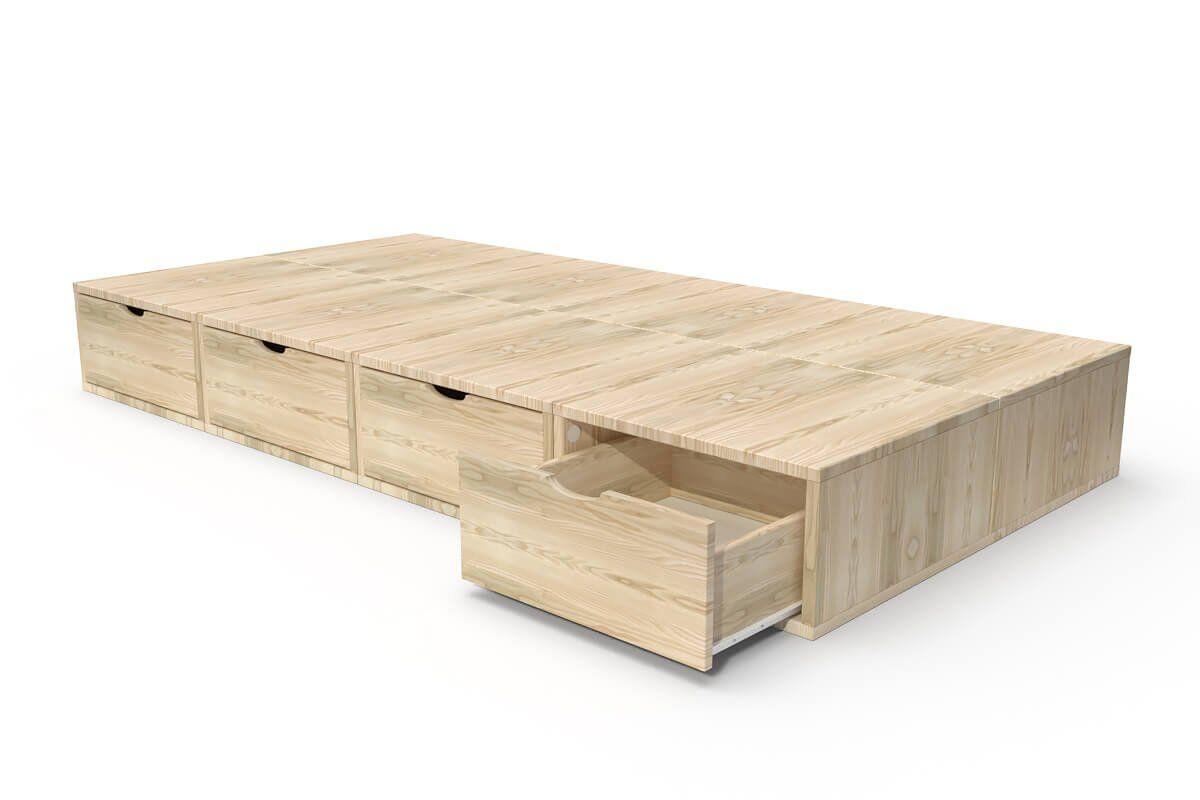 ABC MEUBLES Lit 90x200 1 place avec tiroirs Cube bois - 90x200 - Brut
