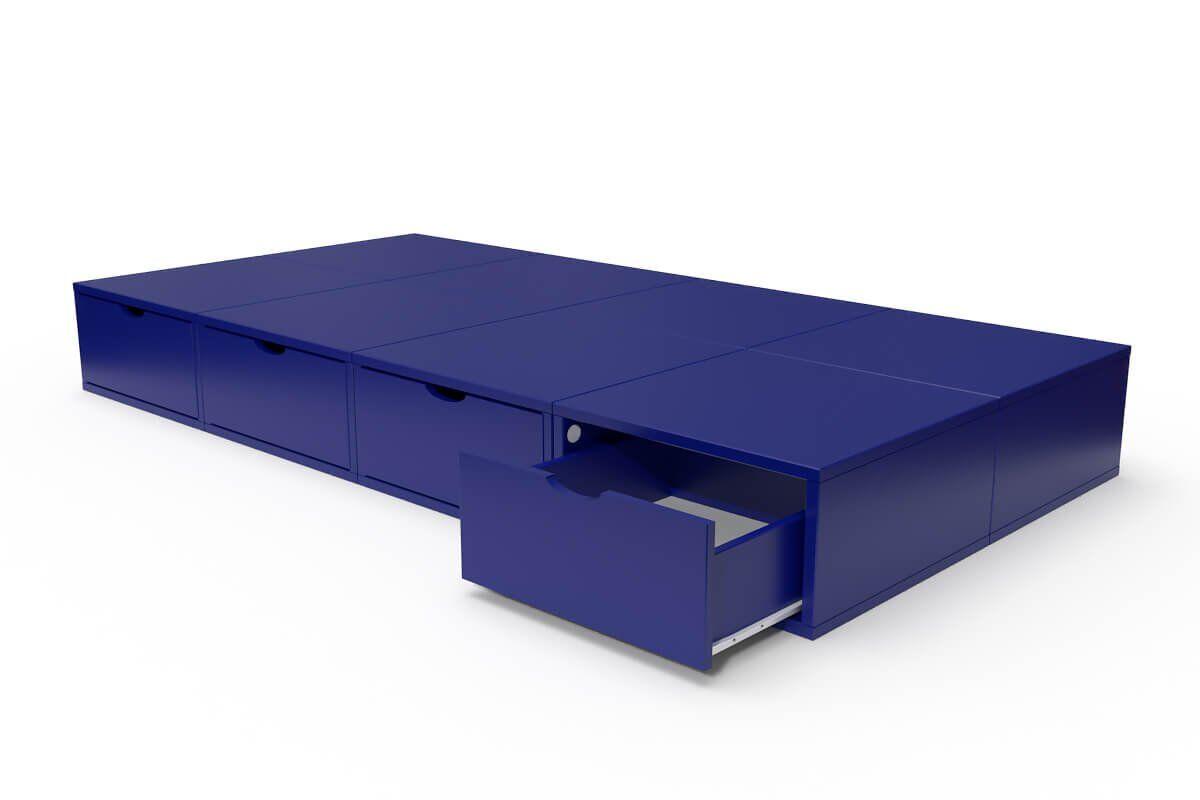 ABC MEUBLES Lit 90x200 1 place avec tiroirs Cube bois - 90x200 - Bleu foncé