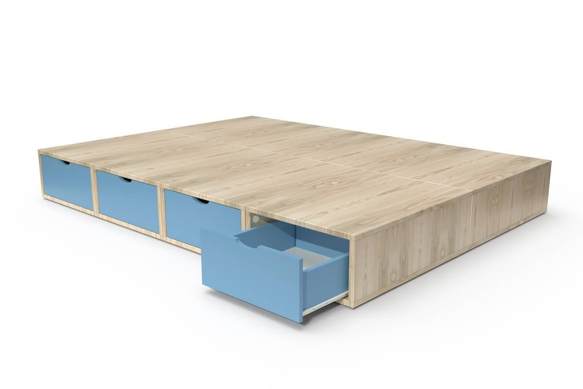 ABC MEUBLES Lit double avec rangement tiroirs Cube - 140x200 - Vernis naturel/Bleu Pastel