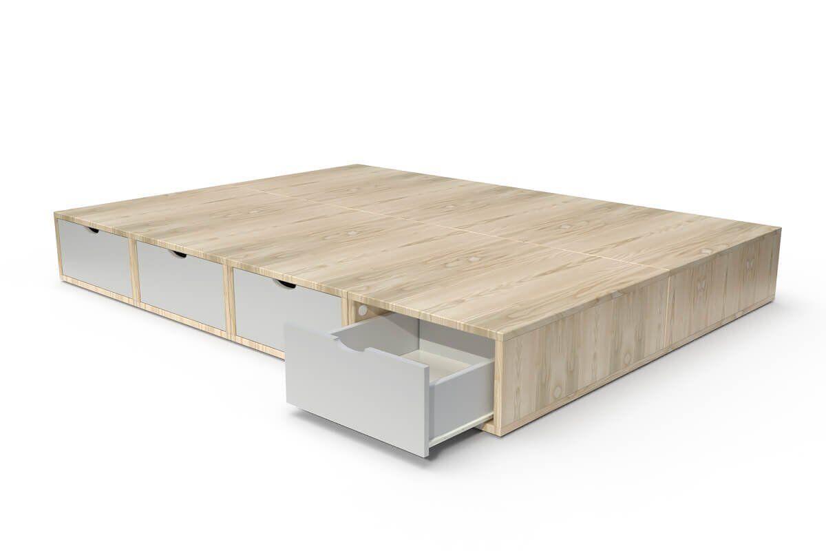 ABC MEUBLES Lit cube deux places avec tiroirs - 140x200 - Vernis naturel/Gris souris
