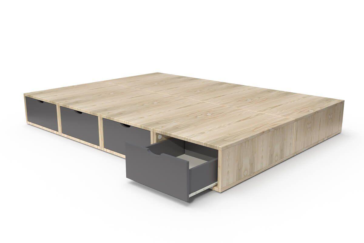 ABC MEUBLES Lit double avec rangement tiroirs Cube - 140x200 - Vernis naturel/Gris anthracite
