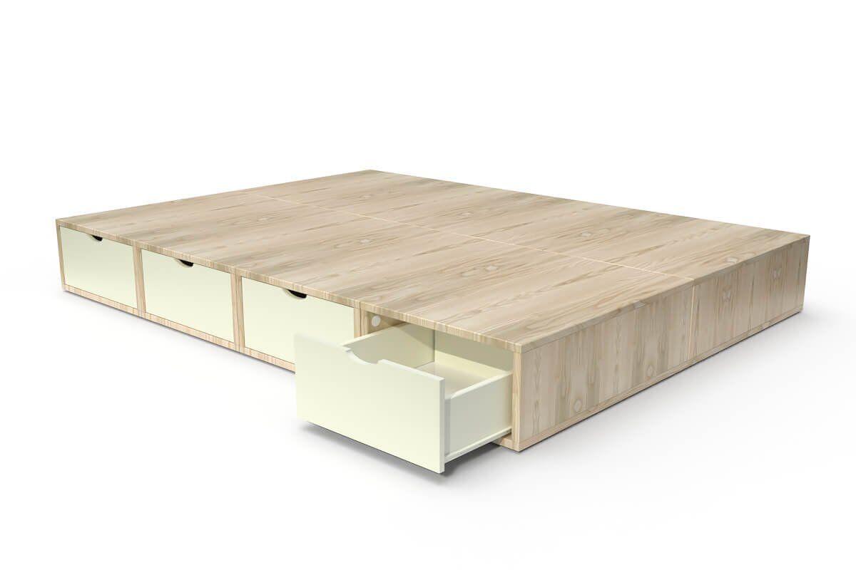 ABC MEUBLES Lit cube deux places avec tiroirs - 140x200 - Vernis naturel / Ivoire