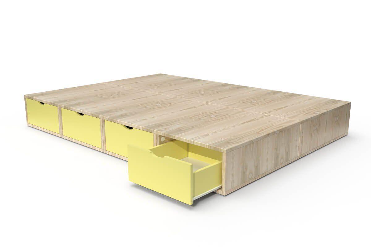 ABC MEUBLES Lit double avec rangement tiroirs Cube - 140x200 - Vernis naturel/Jaune