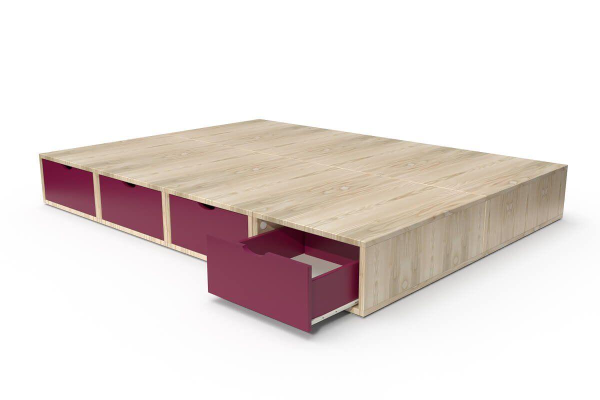 ABC MEUBLES Lit cube deux places avec tiroirs - 140x200 - Vernis Naturel/Prune