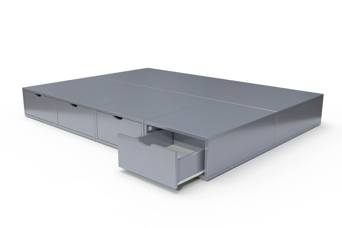 ABC MEUBLES Lit double avec rangement tiroirs Cube - 140x200 - Gris Aluminium