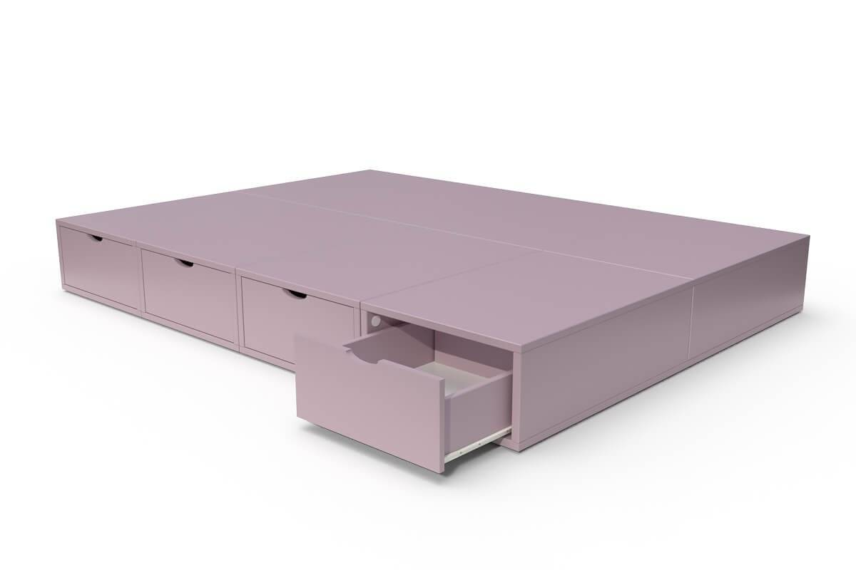 ABC MEUBLES Lit double avec rangement tiroirs Cube - 140x200 - Lilas