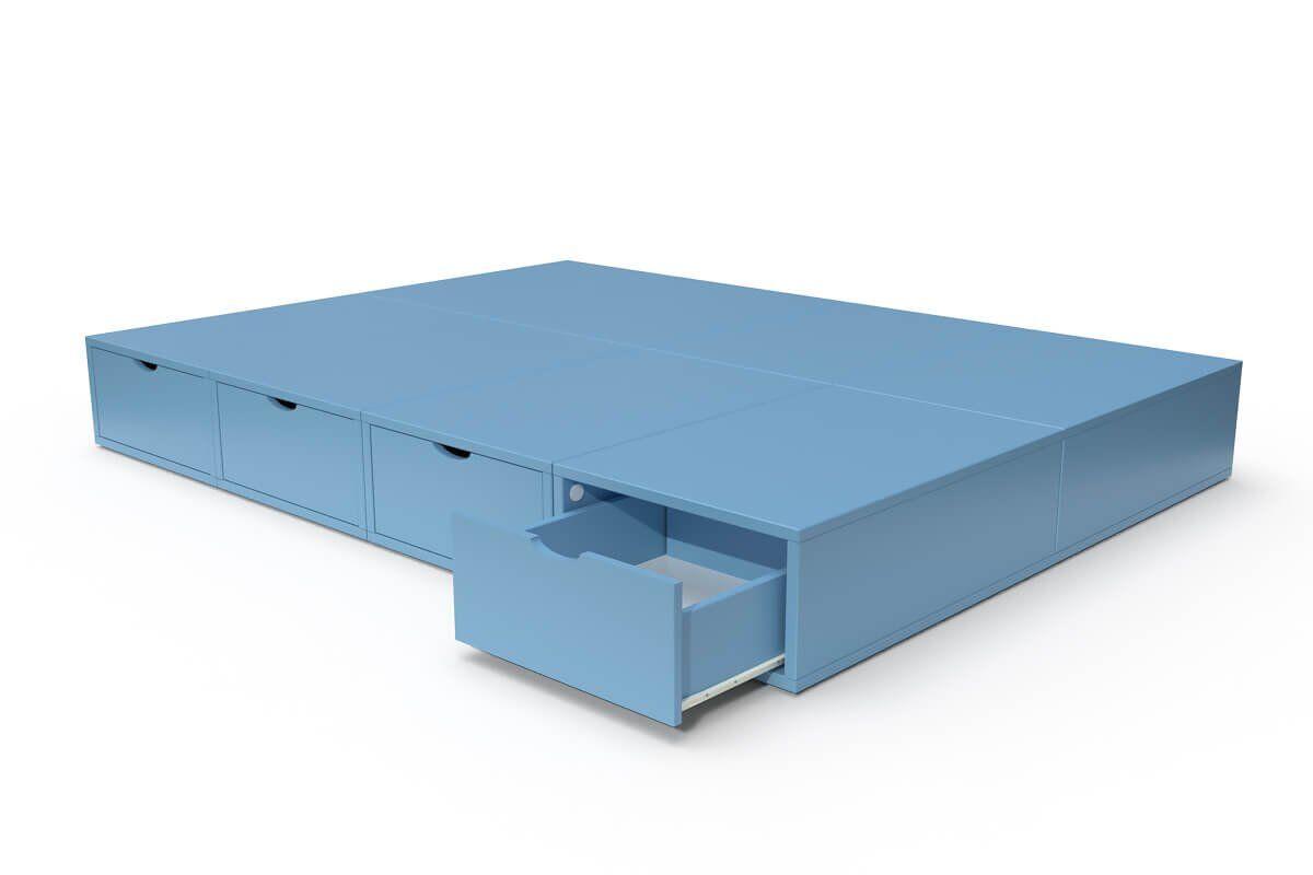 ABC MEUBLES Lit double avec rangement tiroirs Cube - 140x200 - Bleu Pastel