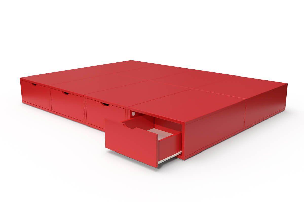 ABC MEUBLES Lit double avec rangement tiroirs Cube - 140x200 - Rouge