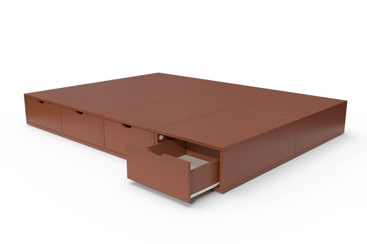 ABC MEUBLES Lit double avec rangement tiroirs Cube - 140x200 - Chocolat