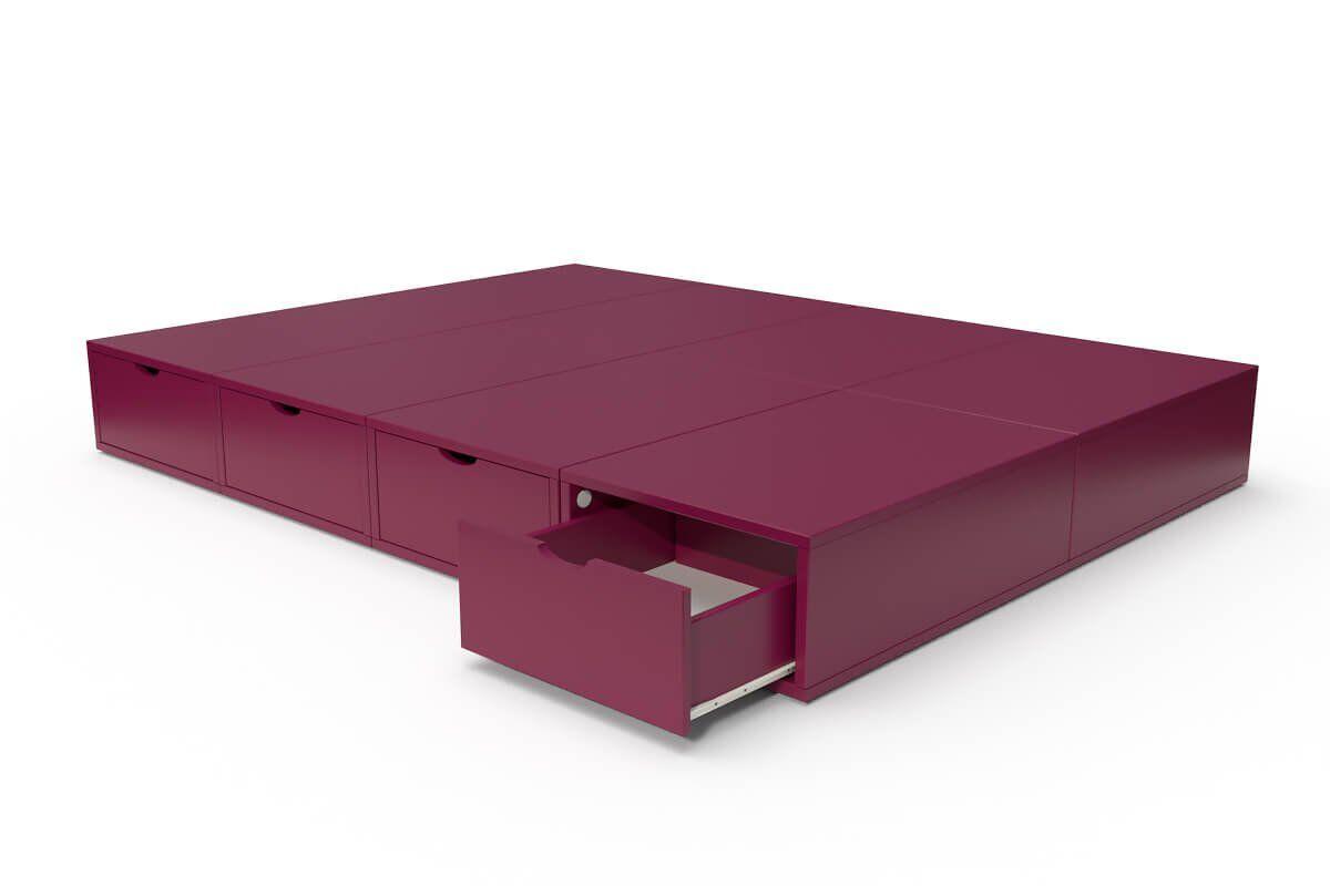 ABC MEUBLES Lit double avec rangement tiroirs Cube - 140x200 - Prune