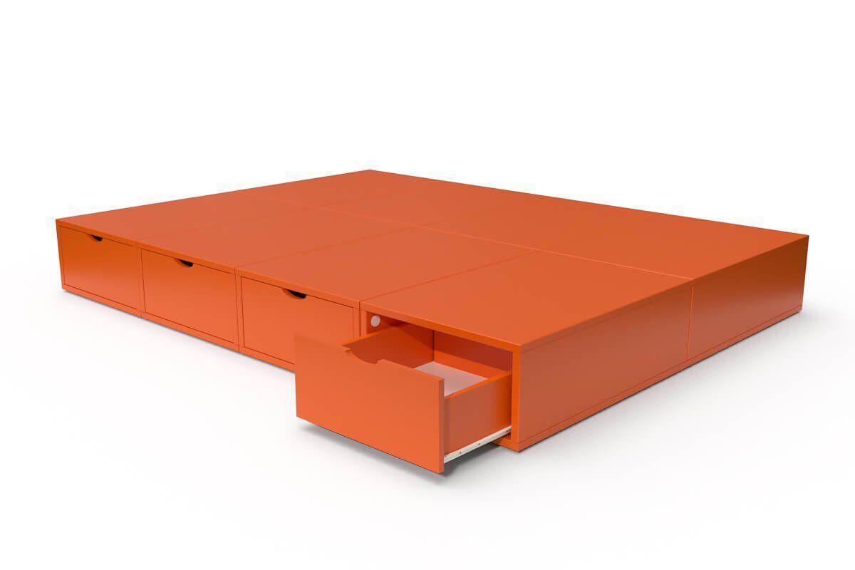 ABC MEUBLES Lit double avec rangement tiroirs Cube - 140x200 - Orange
