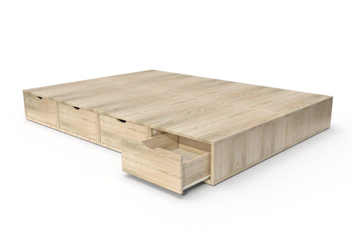 ABC MEUBLES Lit double avec rangement tiroirs Cube - 140x200 - Vernis Naturel