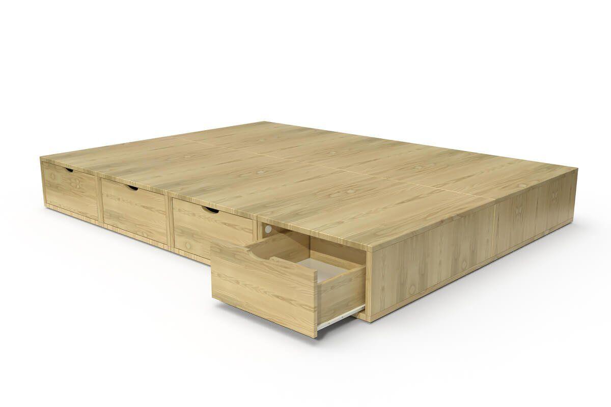 ABC MEUBLES Lit double avec rangement tiroirs Cube - 140x200 - Miel