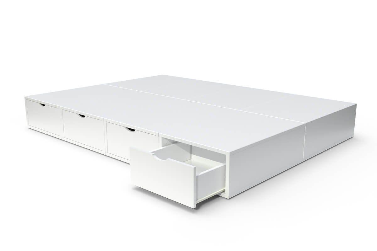 ABC MEUBLES Lit double avec rangement tiroirs Cube - 140x200 - Blanc