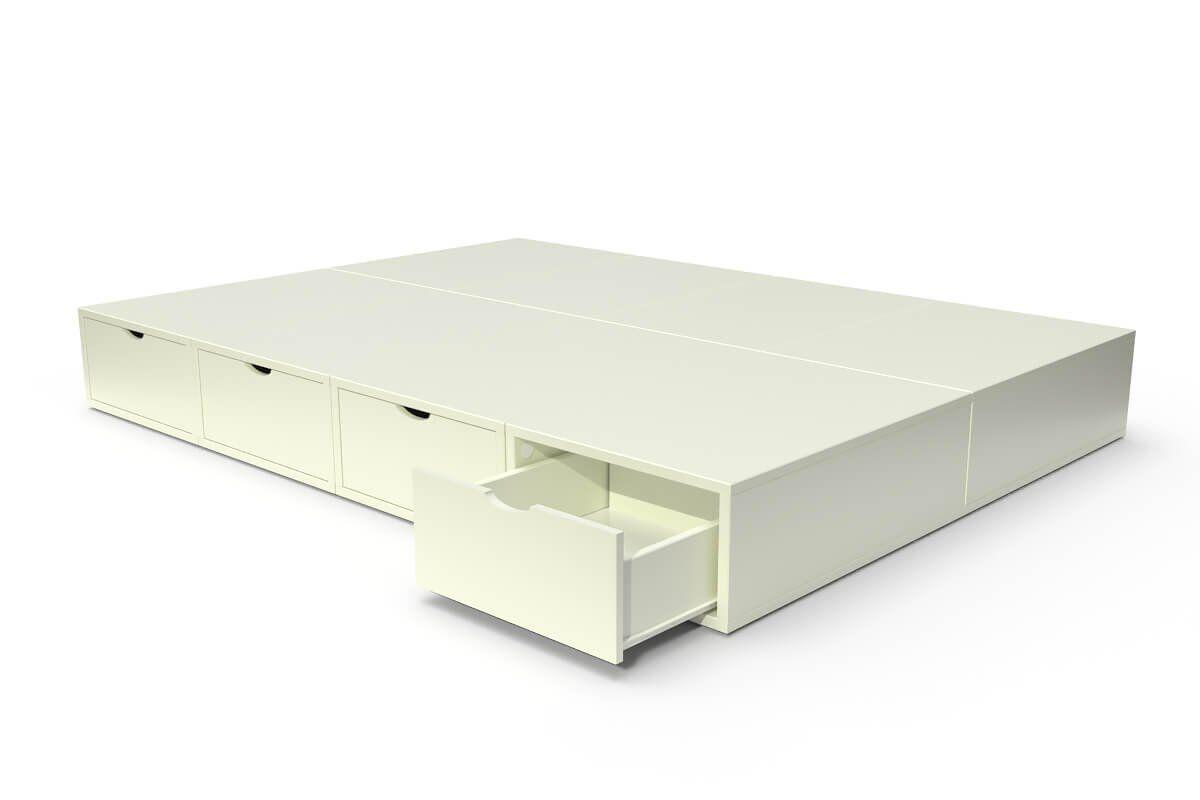 ABC MEUBLES Lit double avec rangement tiroirs Cube - 140x200 - Ivoire
