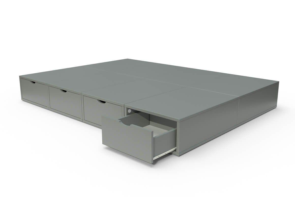 ABC MEUBLES Lit double avec rangement tiroirs Cube - 140x200 - Gris