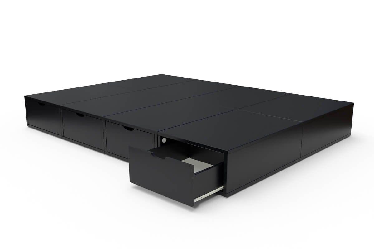 ABC MEUBLES Lit cube deux places avec tiroirs - 140x200 - Noir