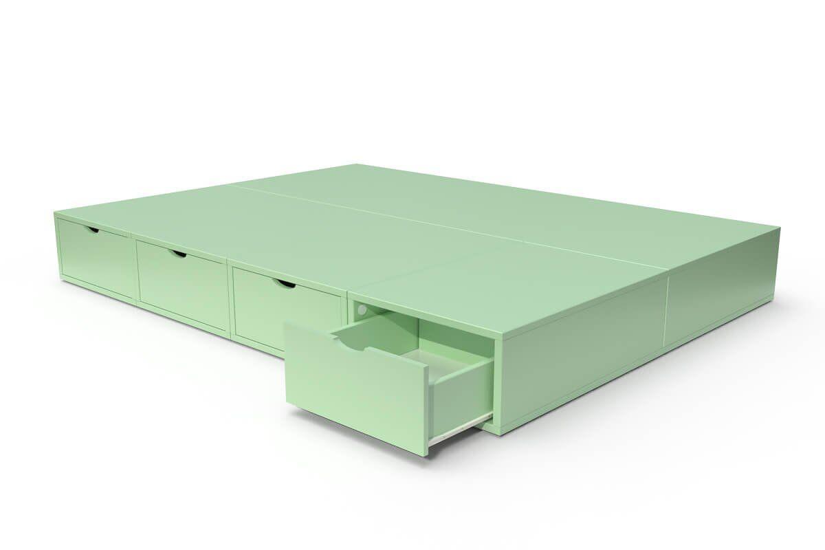 ABC MEUBLES Lit double avec rangement tiroirs Cube - 140x200 - Vert Pastel
