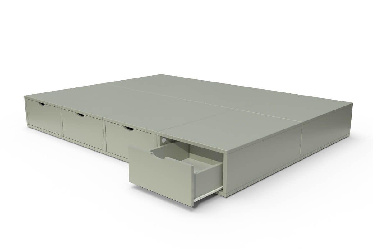 ABC MEUBLES Lit cube deux places avec tiroirs - 140x200 - Moka