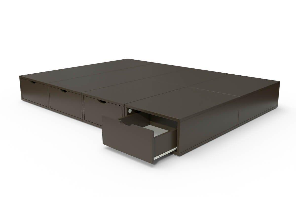 ABC MEUBLES Lit double avec rangement tiroirs Cube - 140x200 - Wengé