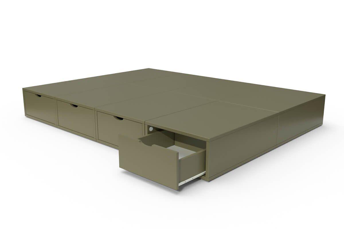 ABC MEUBLES Lit double avec rangement tiroirs Cube - 140x200 - Taupe