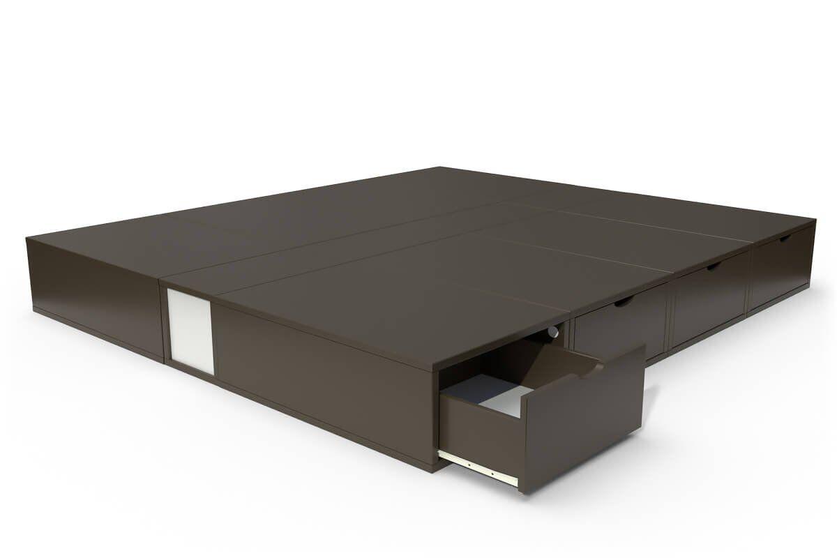 ABC MEUBLES Lit double avec rangement tiroirs Cube - 160x200 - Wengé