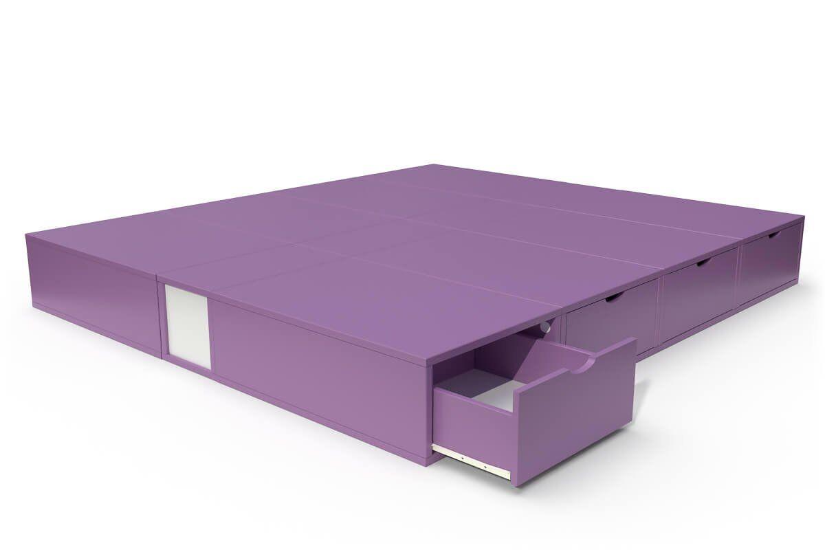 ABC MEUBLES Lit double avec rangement tiroirs Cube - 160x200 - Lilas