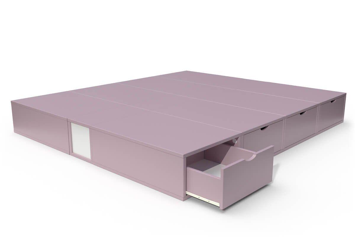 ABC MEUBLES Lit cube deux places avec tiroirs - 160x200 - Violet Pastel