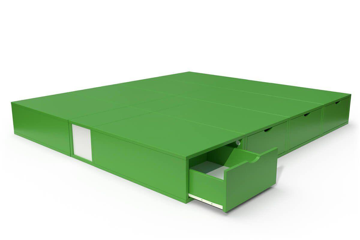 ABC MEUBLES Lit double avec rangement tiroirs Cube - 160x200 - Vert