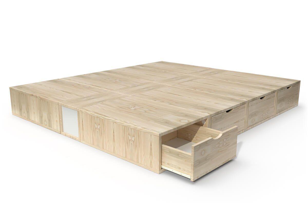 ABC MEUBLES Lit double avec rangement tiroirs Cube - 160x200 - Brut