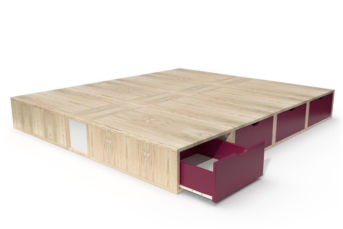ABC MEUBLES Lit cube deux places avec tiroirs - 160x200 - Vernis Naturel/Prune