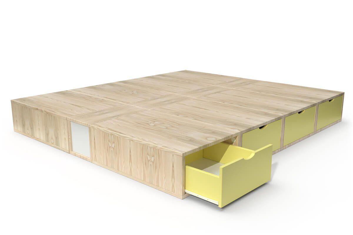 ABC MEUBLES Lit double avec rangement tiroirs Cube - 160x200 - Vernis naturel/Jaune
