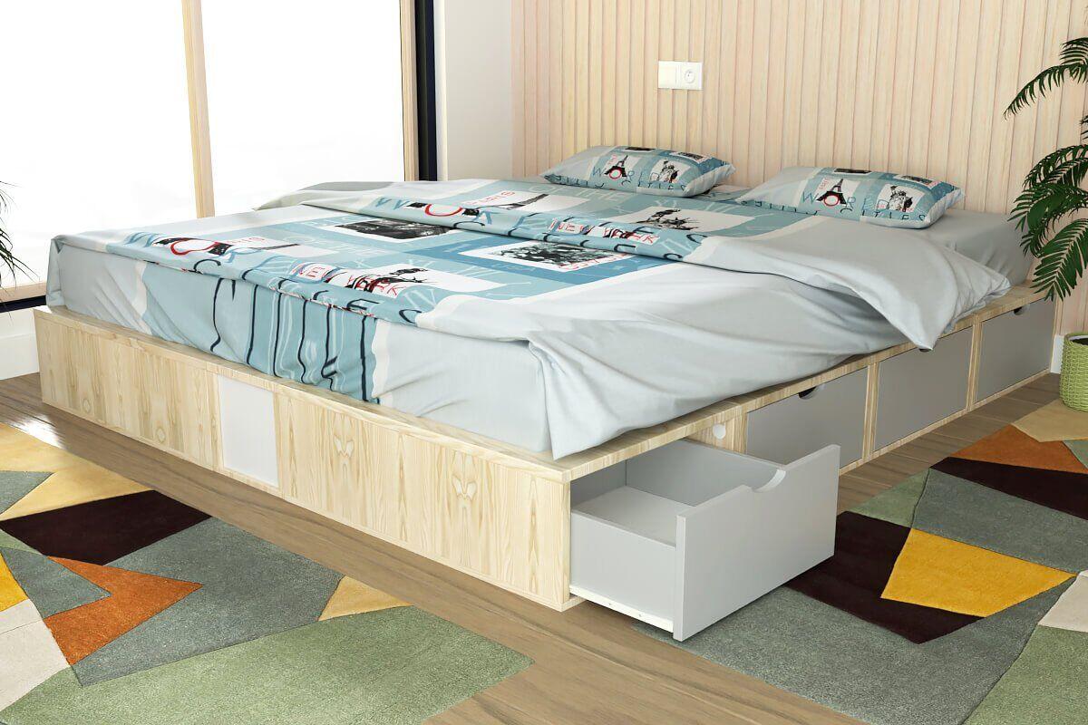 ABC MEUBLES Lit double avec rangement tiroirs Cube - 160x200 - Vernis naturel/Gris souris