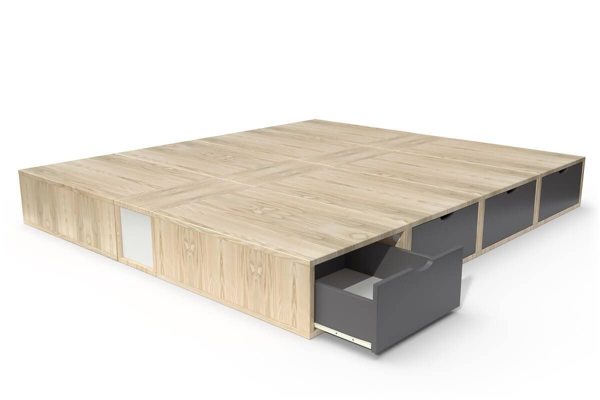 ABC MEUBLES Lit double avec rangement tiroirs Cube - 160x200 - Vernis naturel/Gris anthracite