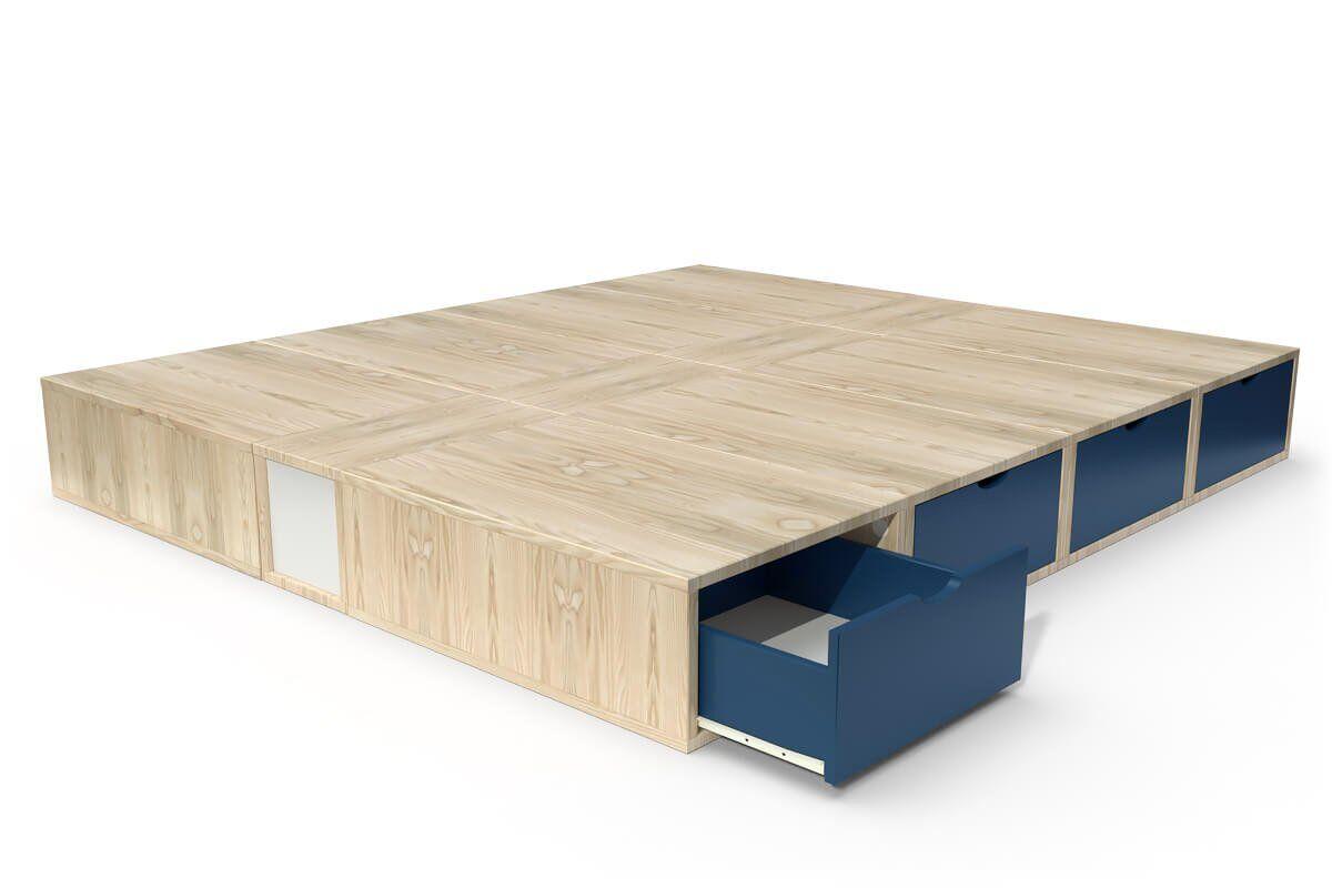 ABC MEUBLES Lit double avec rangement tiroirs Cube - 160x200 - Vernis naturel/Bleu pétrole