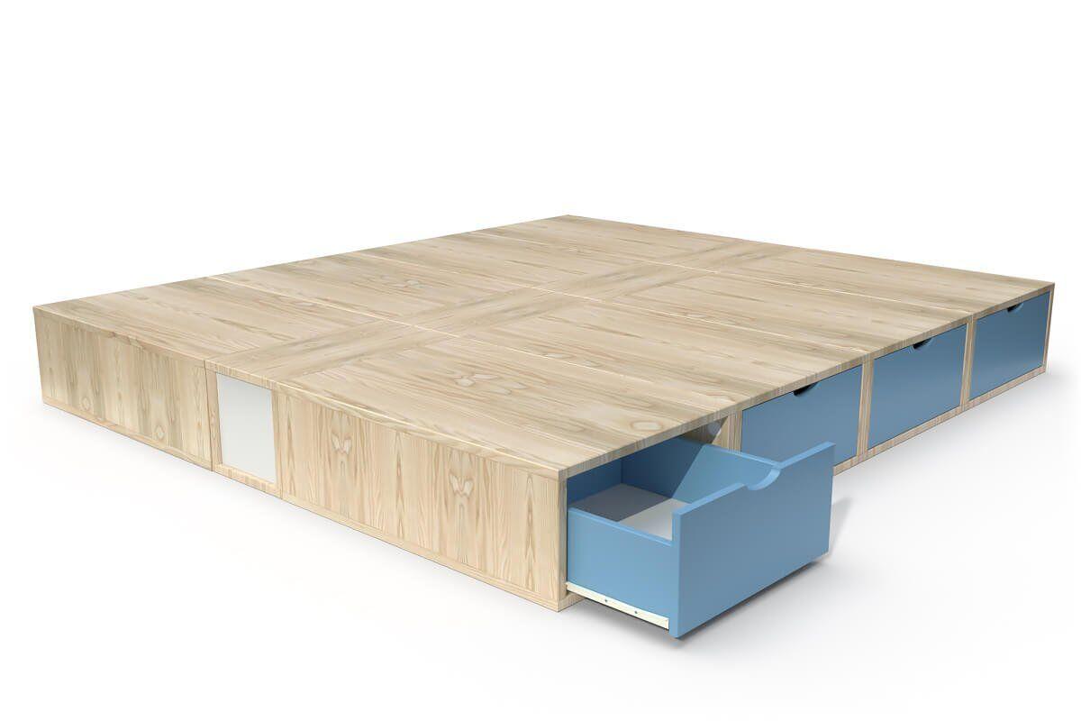 ABC MEUBLES Lit double avec rangement tiroirs Cube - 160x200 - Vernis naturel/Bleu Pastel