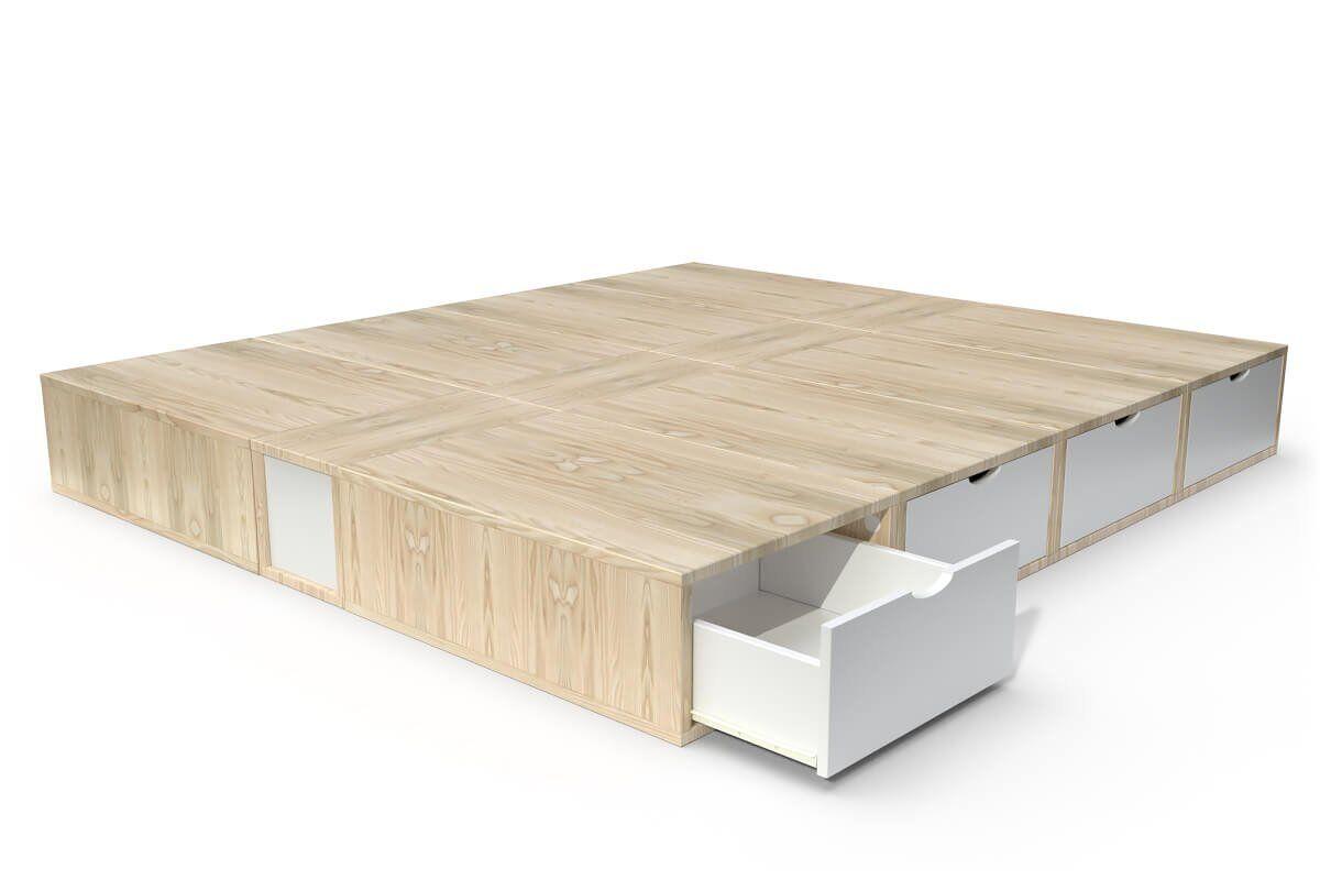 ABC MEUBLES Lit double avec rangement tiroirs Cube - 160x200 - Vernis naturel/Blanc