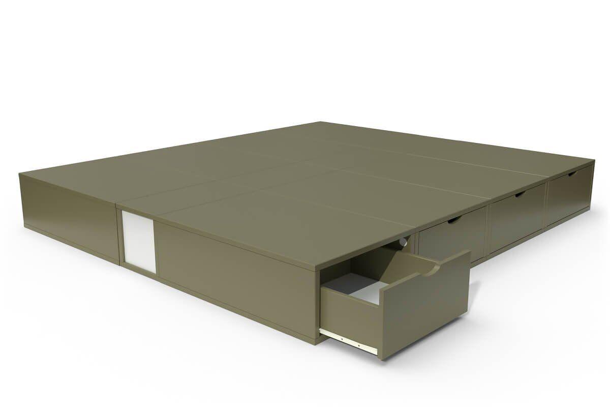 ABC MEUBLES Lit cube deux places avec tiroirs - 160x200 - Taupe