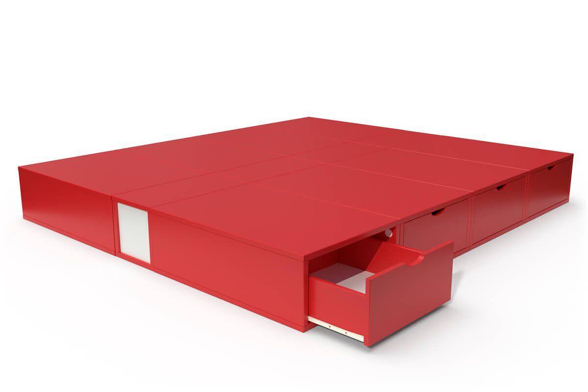 ABC MEUBLES Lit cube deux places avec tiroirs - 160x200 - Rouge