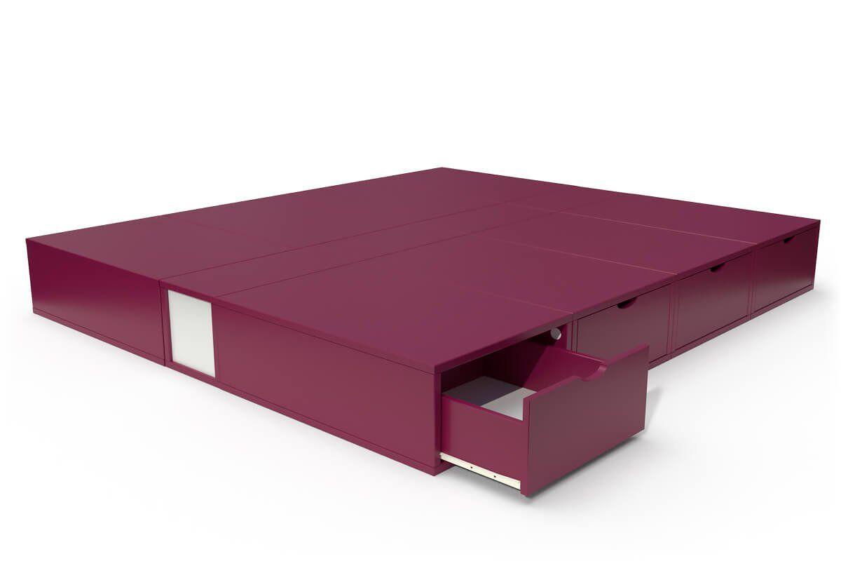 ABC MEUBLES Lit cube deux places avec tiroirs - 160x200 - Prune