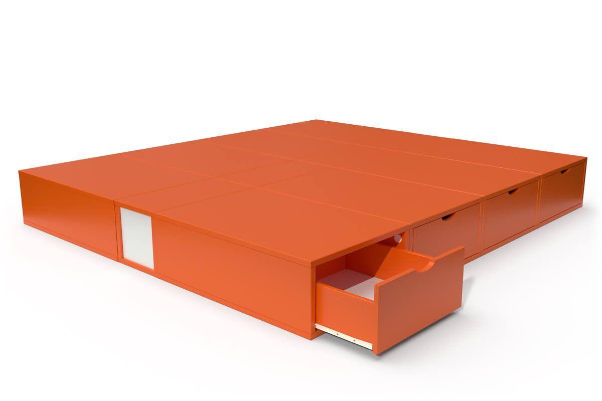 ABC MEUBLES Lit double avec rangement tiroirs Cube - 160x200 - Orange