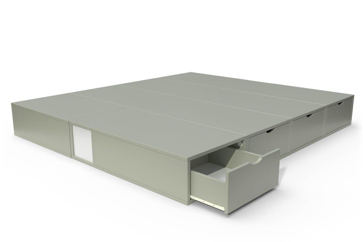 ABC MEUBLES Lit double avec rangement tiroirs Cube - 160x200 - Moka