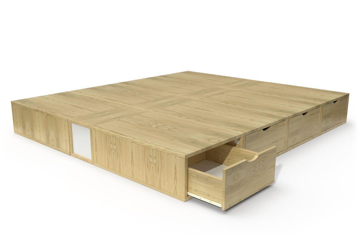ABC MEUBLES Lit double avec rangement tiroirs Cube - 160x200 - Miel