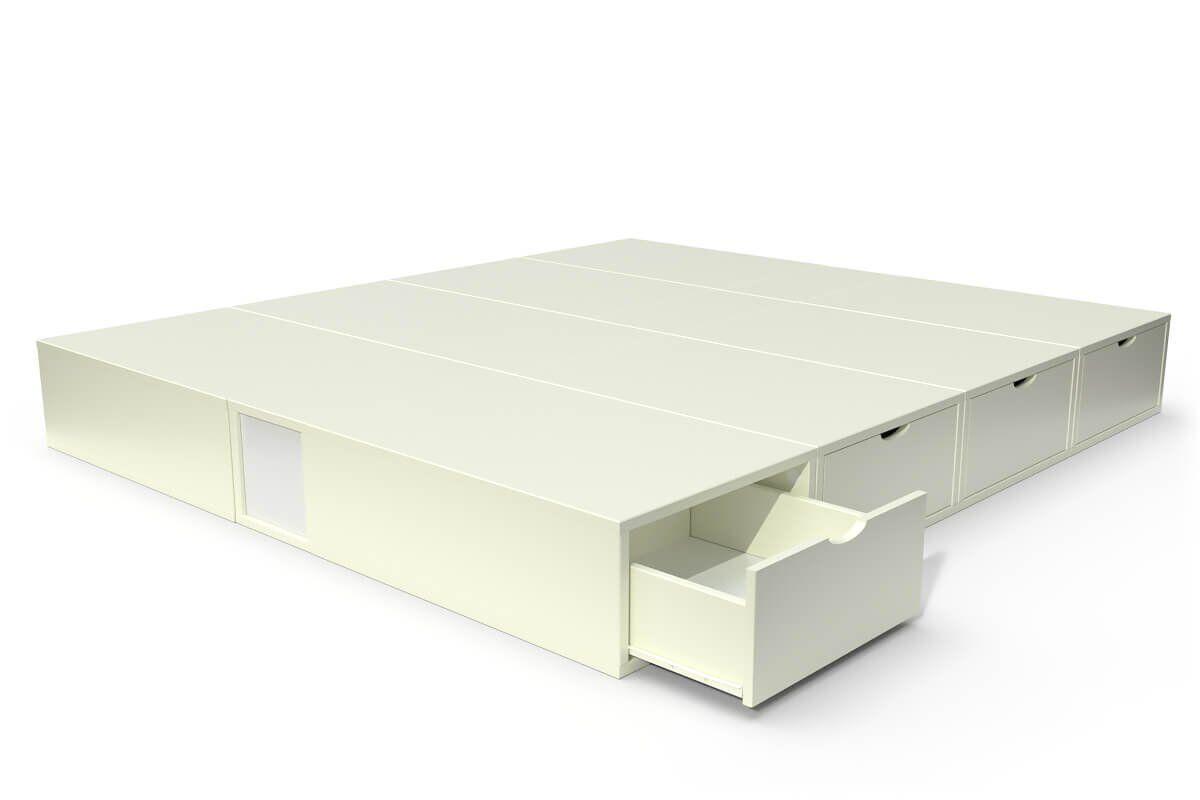 ABC MEUBLES Lit cube deux places avec tiroirs - 160x200 - Ivoire