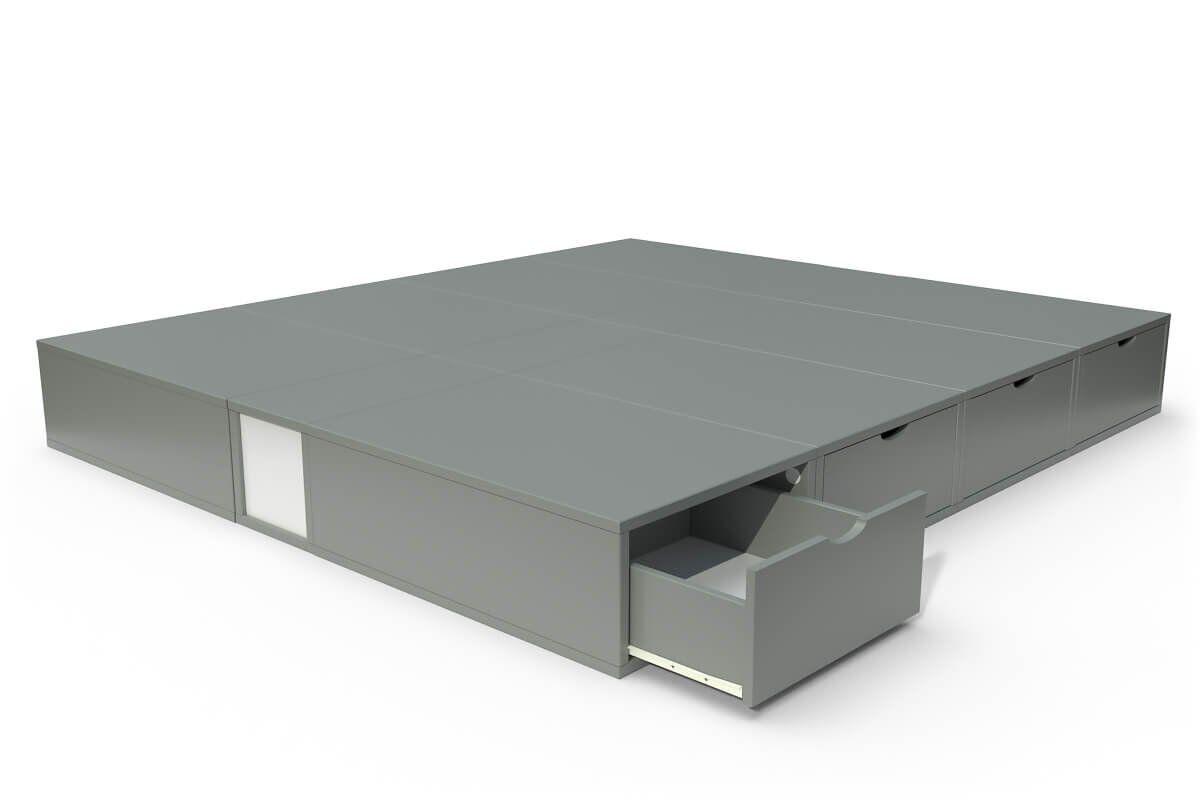 ABC MEUBLES Lit double avec rangement tiroirs Cube - 160x200 - Gris