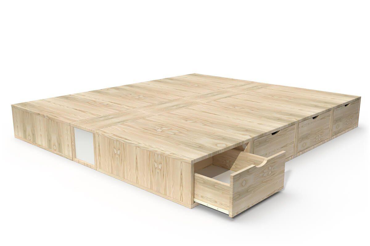 ABC MEUBLES Lit double avec rangement tiroirs Cube - 160x200 - Vernis Naturel