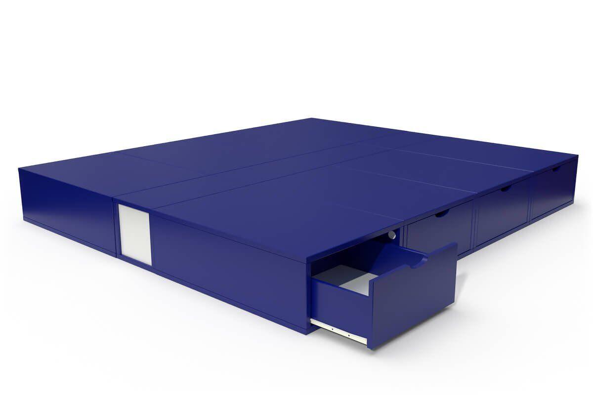 ABC MEUBLES Lit double avec rangement tiroirs Cube - 160x200 - Bleu foncé