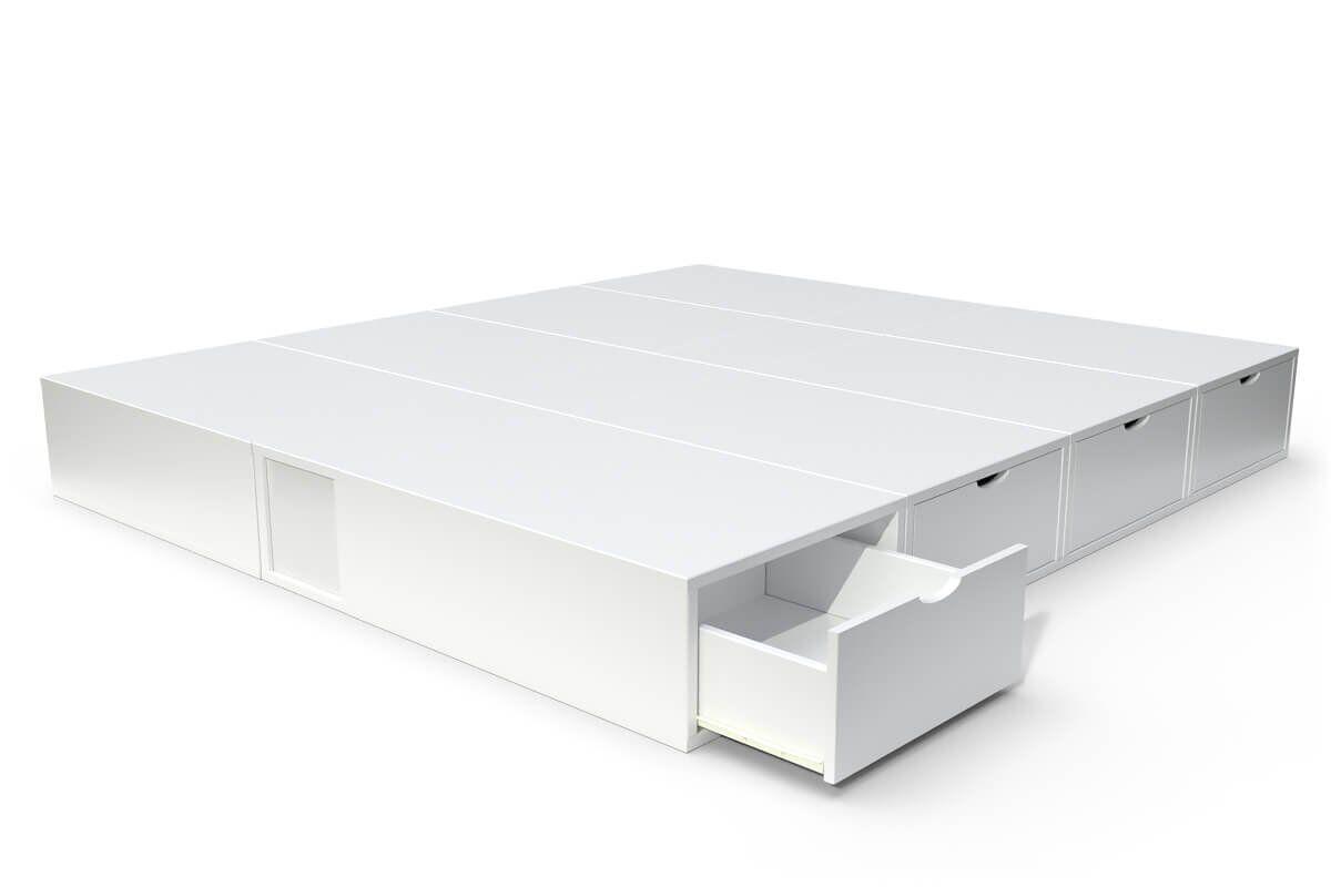 ABC MEUBLES Lit double avec rangement tiroirs Cube - 160x200 - Blanc