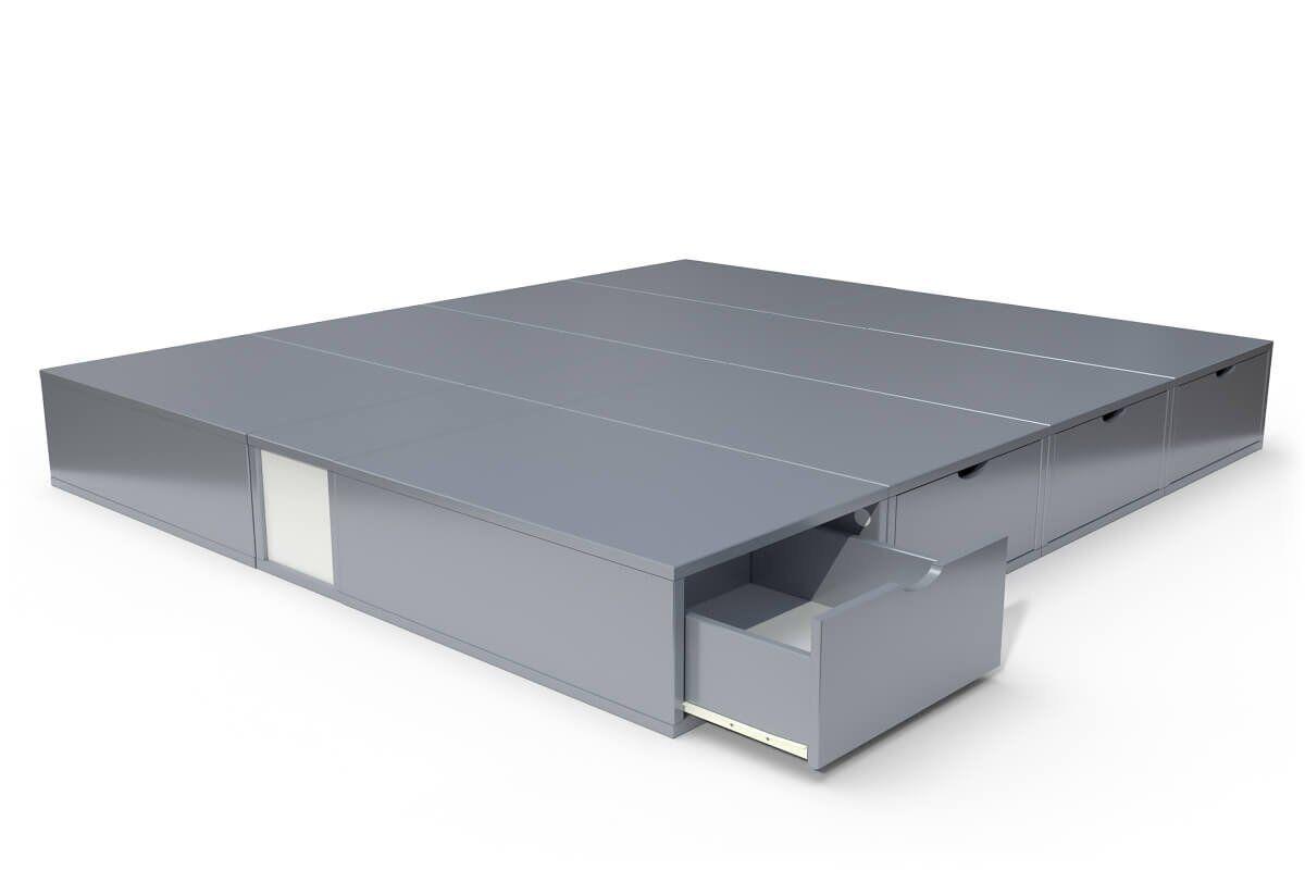 ABC MEUBLES Lit double avec rangement tiroirs Cube - 160x200 - Gris Aluminium
